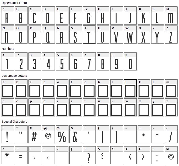 HigherUp Font Character Map