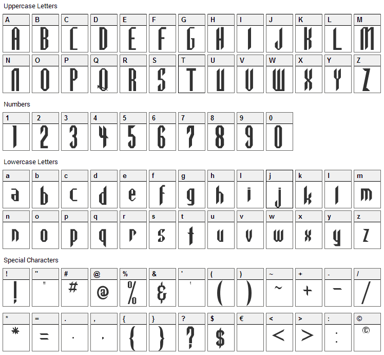 Highlander Font Character Map