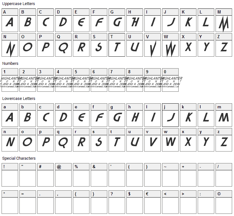 Highlander Movie Font Character Map