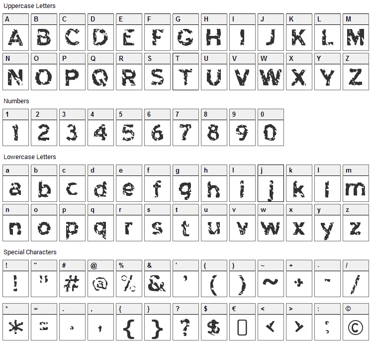 Highway to Heck Font Character Map