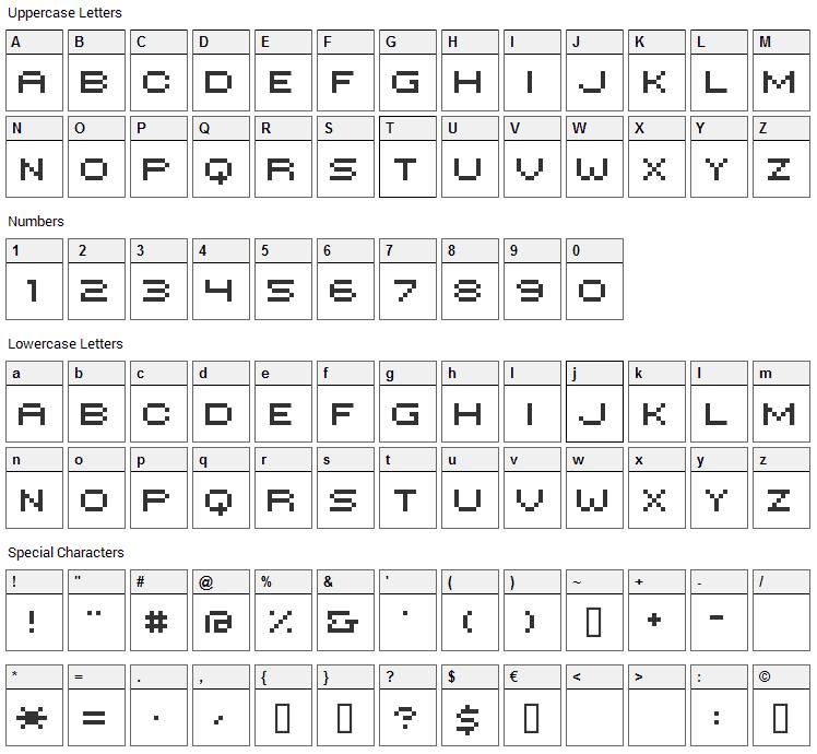 Hilogin Font Character Map