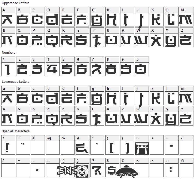 Hirosh Font Character Map