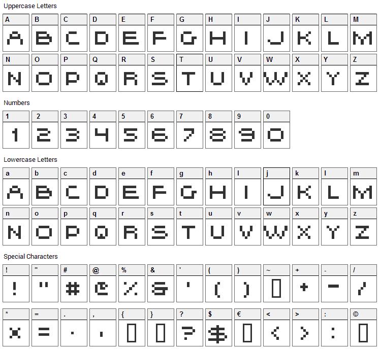 Hiskyflipper Font Character Map