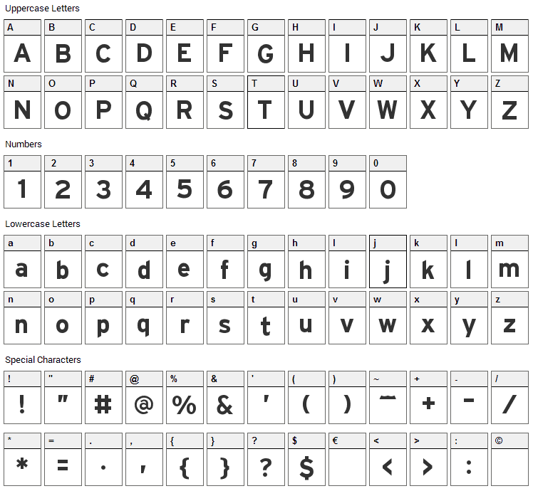 Hit the Road Font Character Map