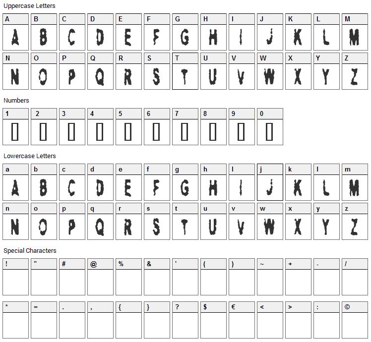 Hitman AJ Font Character Map