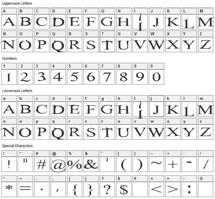 Hitman Font Character Map