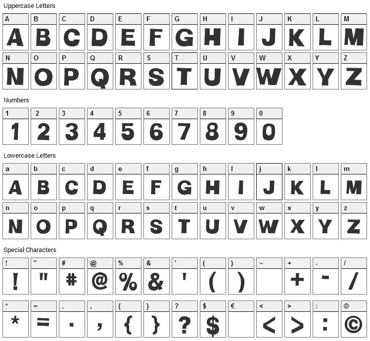 HMan Font Character Map