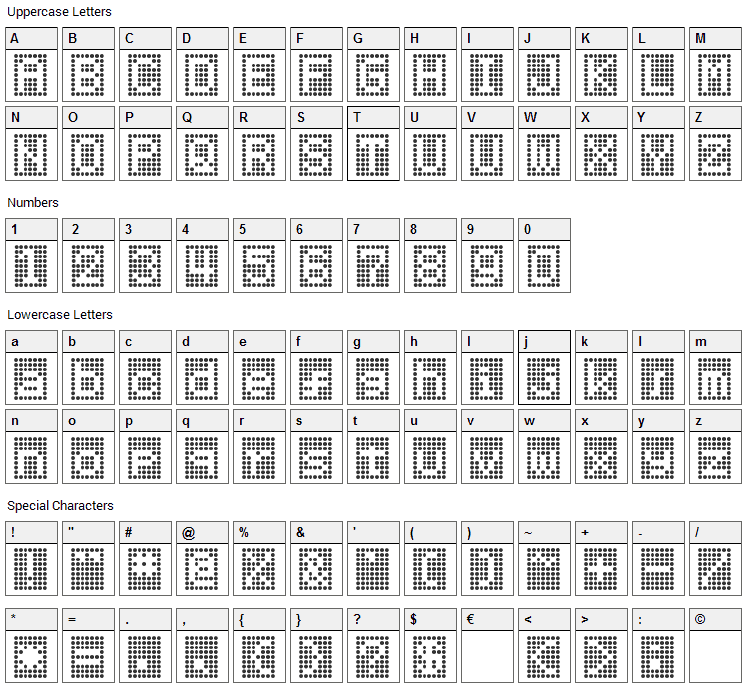 HNrumine Font Character Map