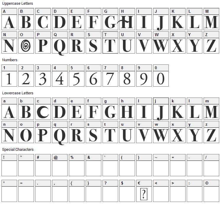 Hocus Pocus Font Character Map