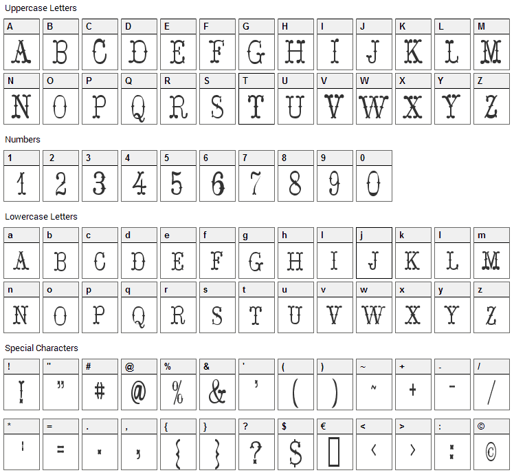 Hoedown Ds Font Character Map