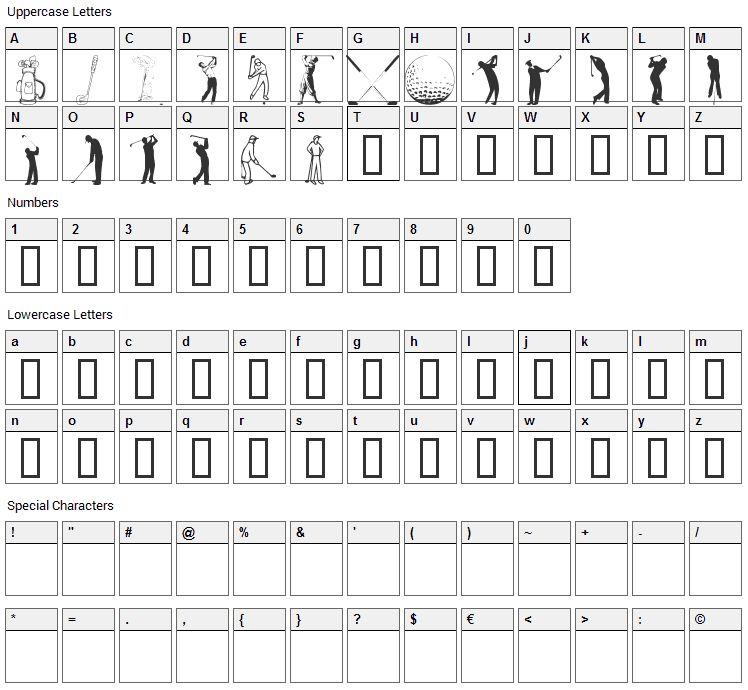 Hole in One Font Character Map