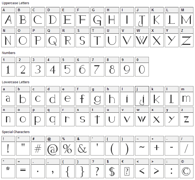 Holitter Halfimp Font Character Map