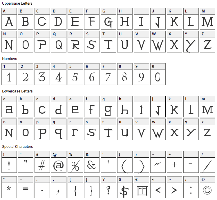 Holitter Titan Font Character Map