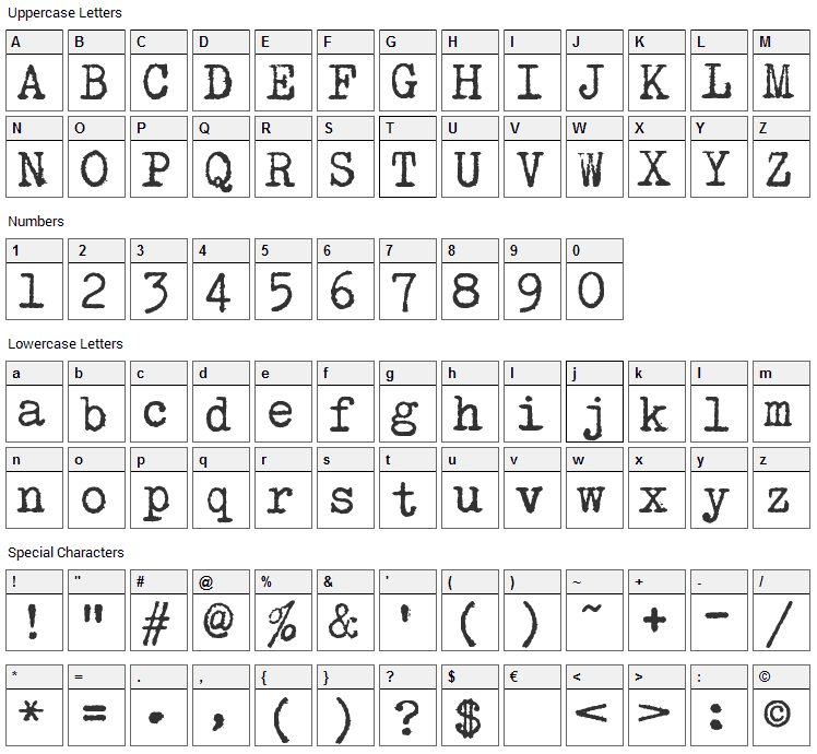 Hollywood Starfire Font Character Map