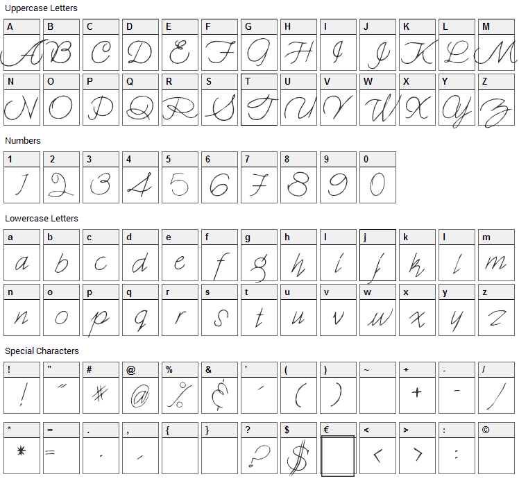 Holmes 001 Font Character Map