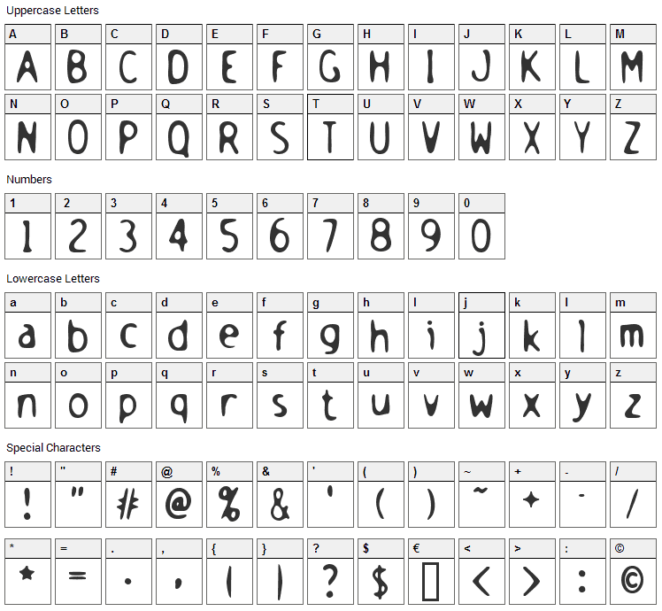 Holstein Font Character Map