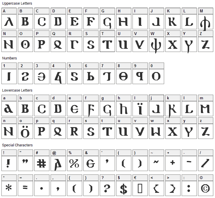 Holy Empire Font Character Map
