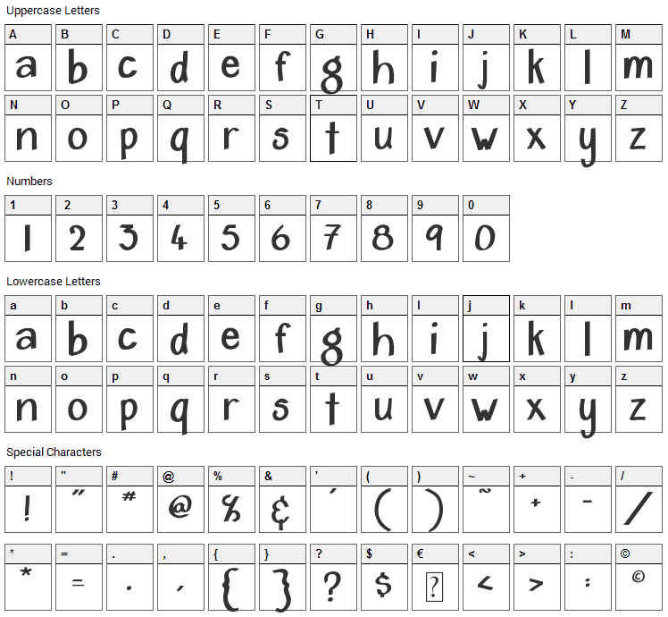 Home & Hearth Font Character Map