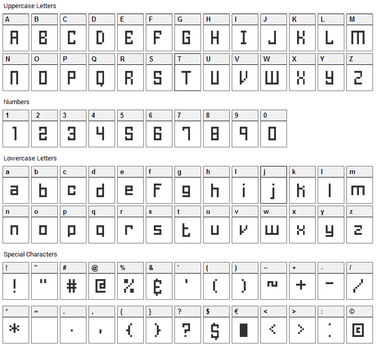 Homespun BRK Font Character Map