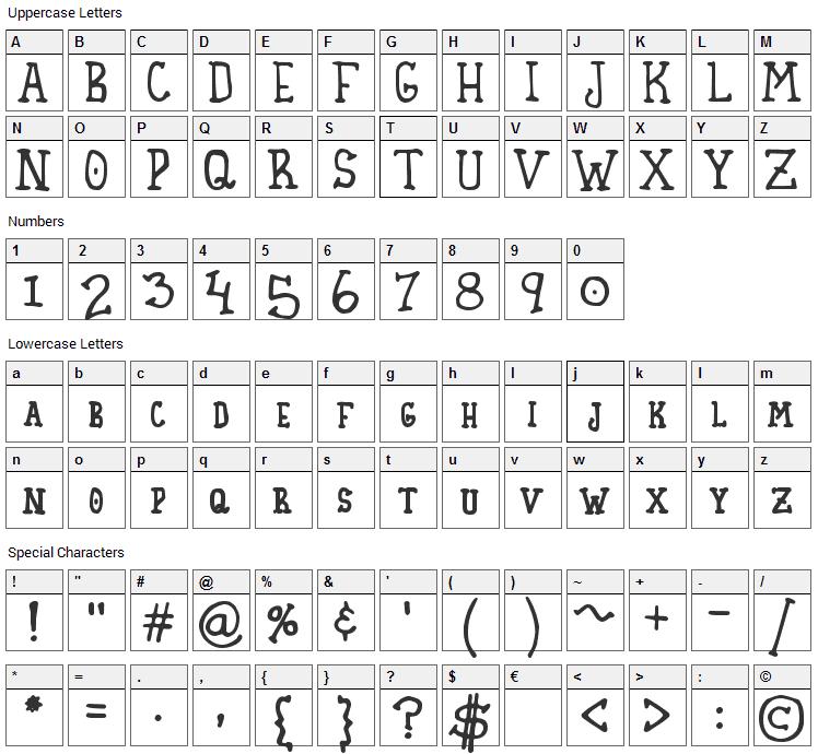 Homespun Font Character Map