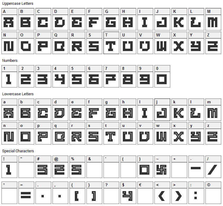 Homigos Font Character Map