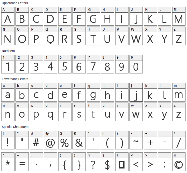 Homizio Font Character Map