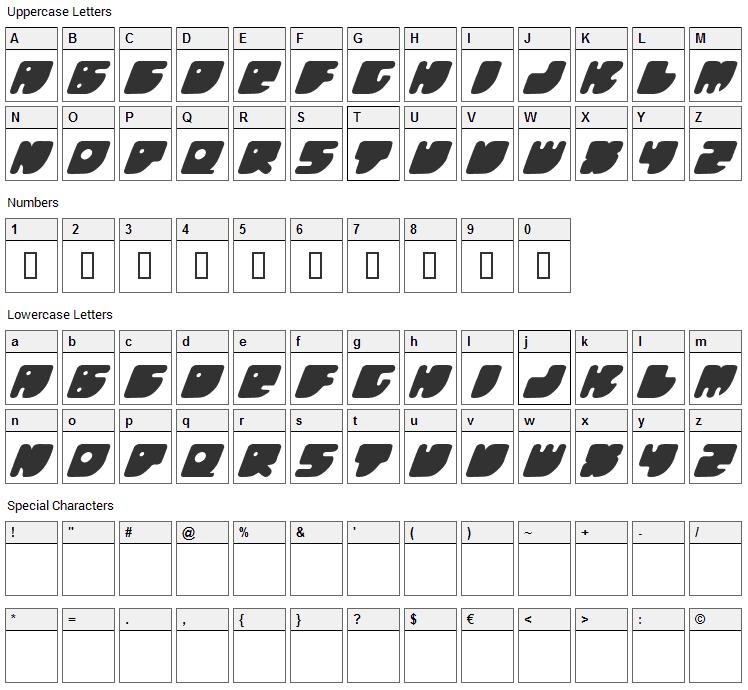 Honeyflash Font Character Map