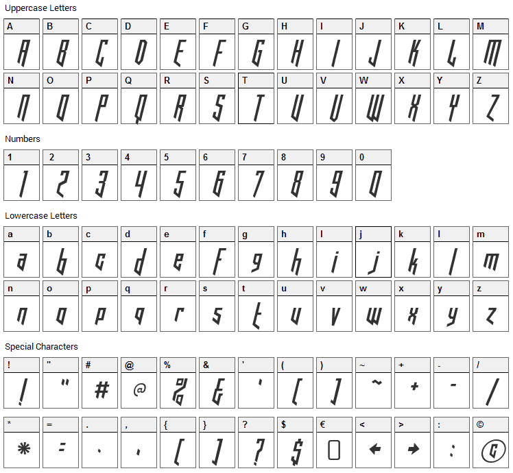 Hooked Up 101 Font Character Map