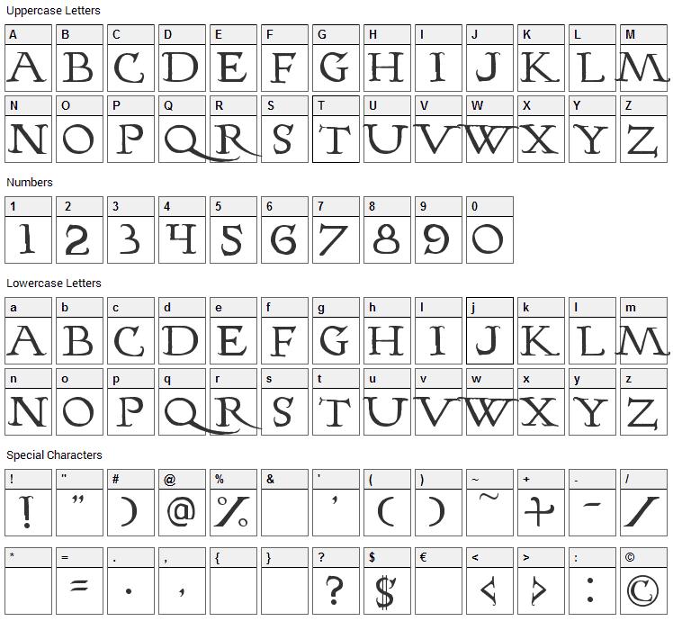 Hopfer Hornbook Font Character Map