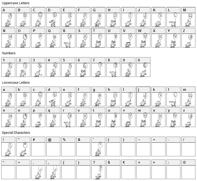 Hoppy Ribbitday Font Character Map