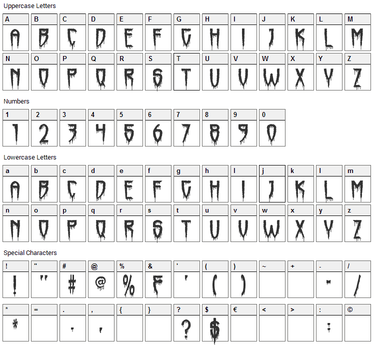 Horrorfind Font Character Map