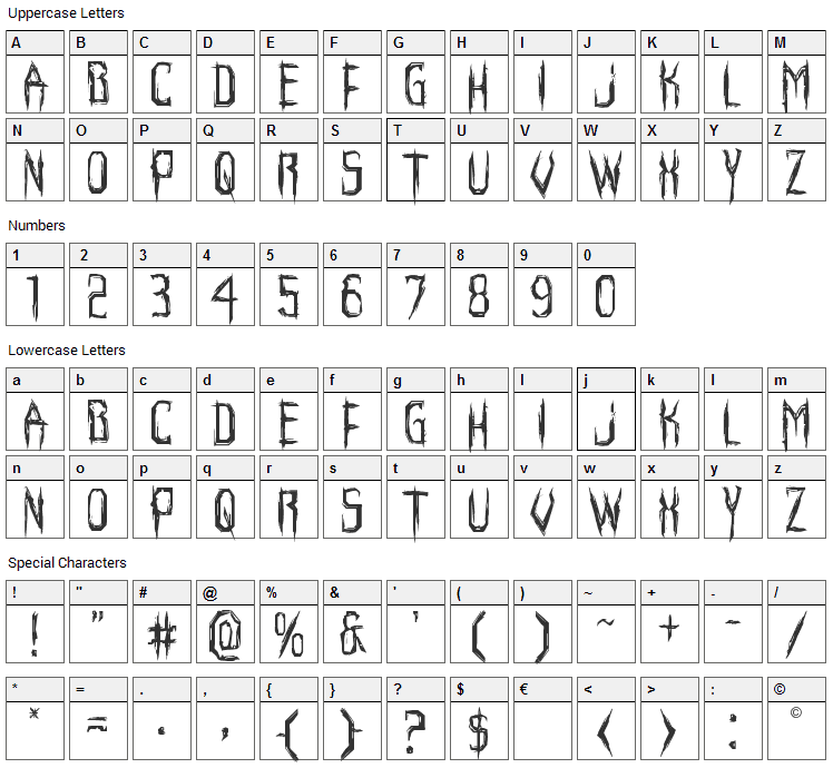 Horroroid Font Character Map