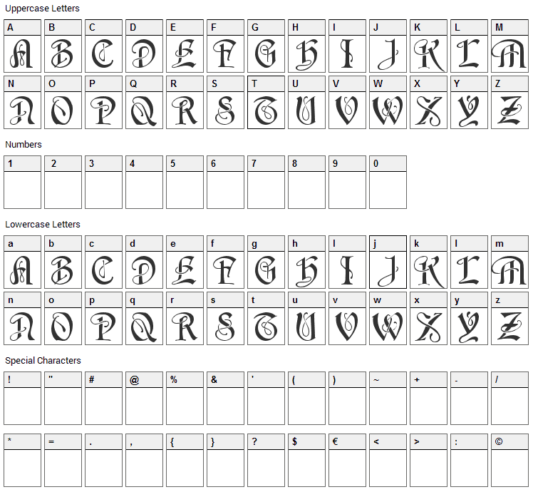 Horst Font Character Map