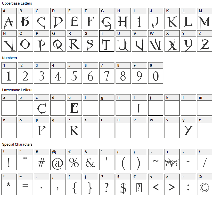 Horst Roman Gothic Font Character Map