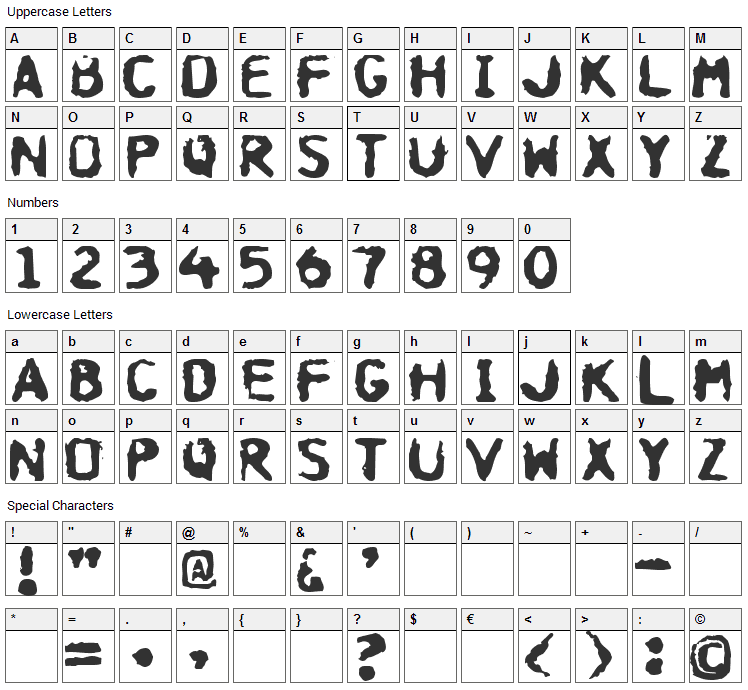 Hospital Font Character Map