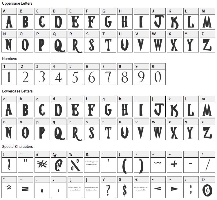 Hostel Transilvania Font Character Map