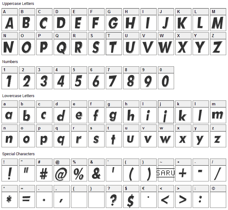 Hotplate Font Character Map