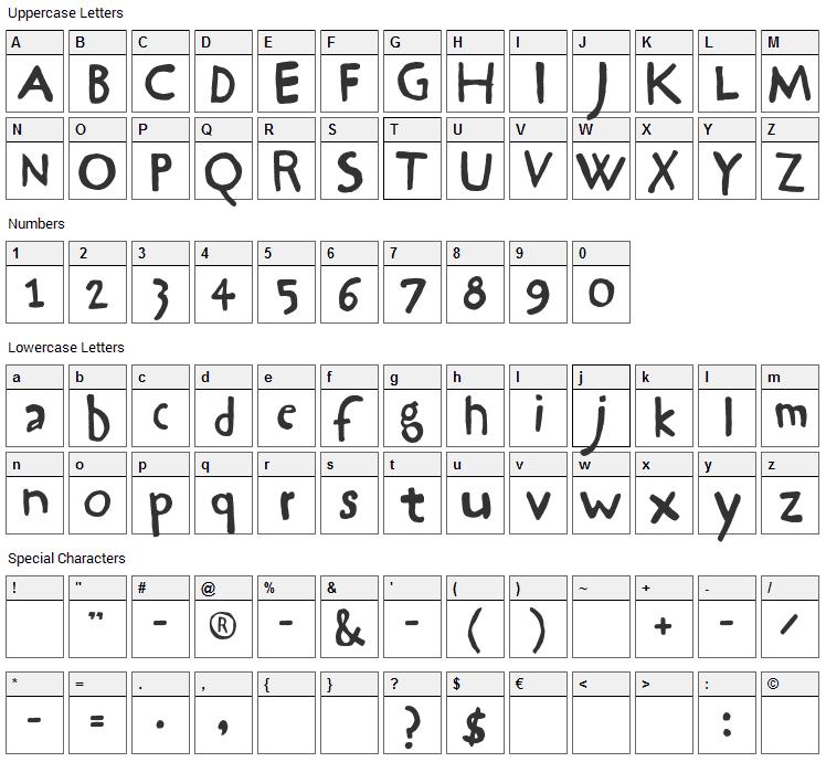 Hrawolam Font Character Map