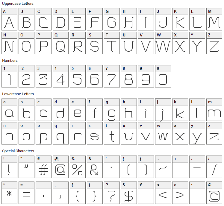 HT Skyline Font Character Map