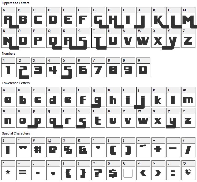 Huggy Bear Font Character Map