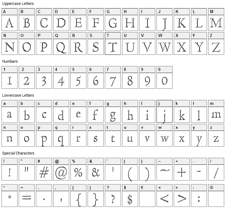 Hultog Engraved Font Character Map