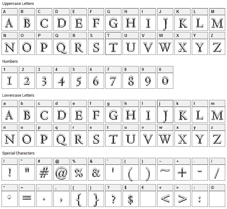 Hultog Snowdrift Font Character Map