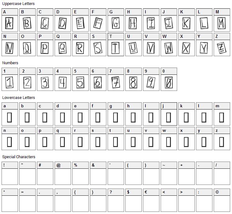 Human Brown Eye Font Character Map