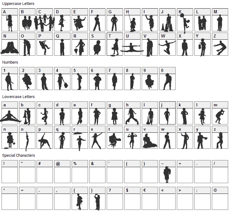 Human Silhouettes Five Font Character Map