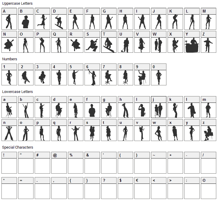 Human Silhouettes Font Character Map