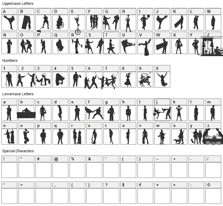 Human Silhouettes Free Eight Font Character Map