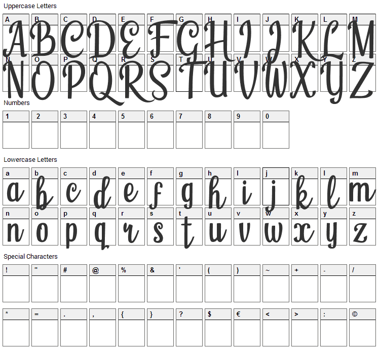 Humble Cafe Font Character Map