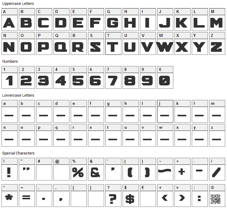 Hunter Squared Font Character Map
