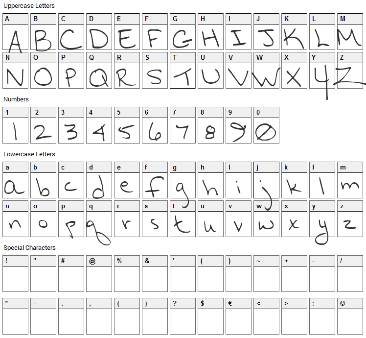 Hurry Up Hurry Up Font Character Map