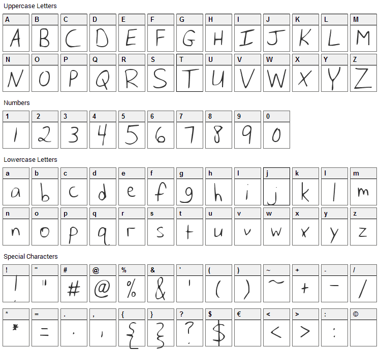 Husband of the Millennium Font Character Map